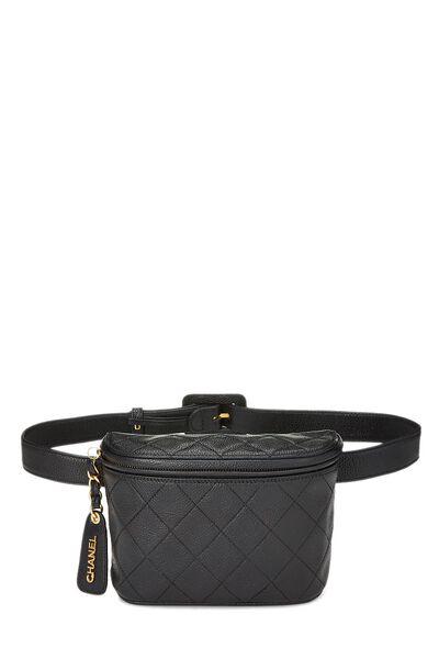 Black Quilted Caviar Belt Bag 30
