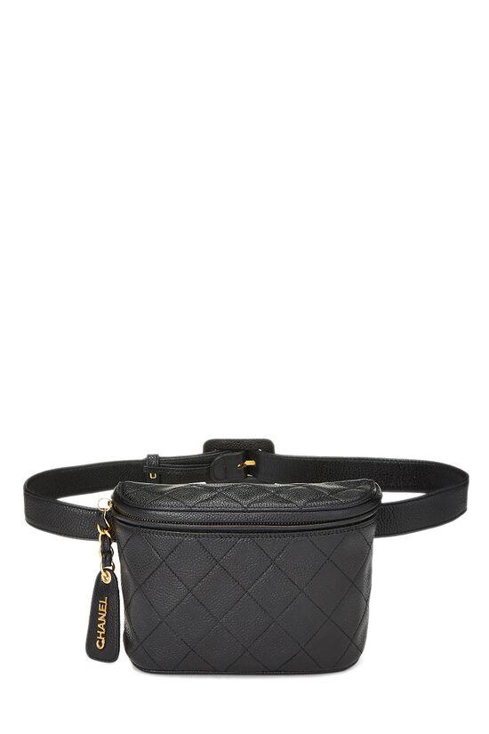 Black Quilted Caviar Belt Bag 30, , large image number 0