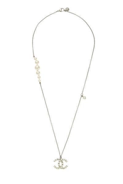 Silver & Faux Pearl 'CC' Long Necklace