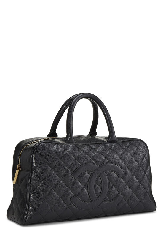 Black Quilted Caviar Bowler Small, , large image number 1