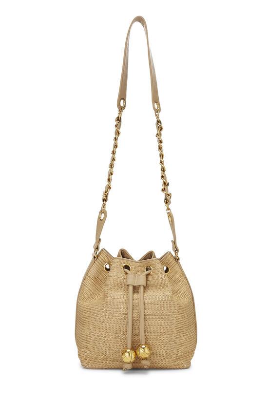 Beige Raffia 'CC' Bucket Bag Small, , large image number 6