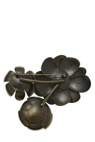 Brown Metal Flower Pin, , large