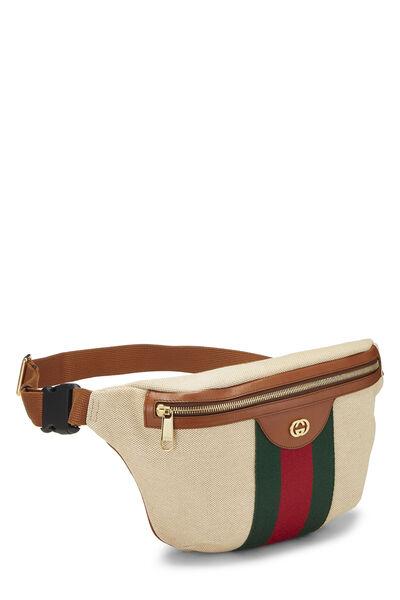 Beige Canvas Web Belt Bag, , large