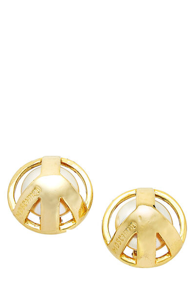Gold & Faux Pearl Peace Sign Earrings