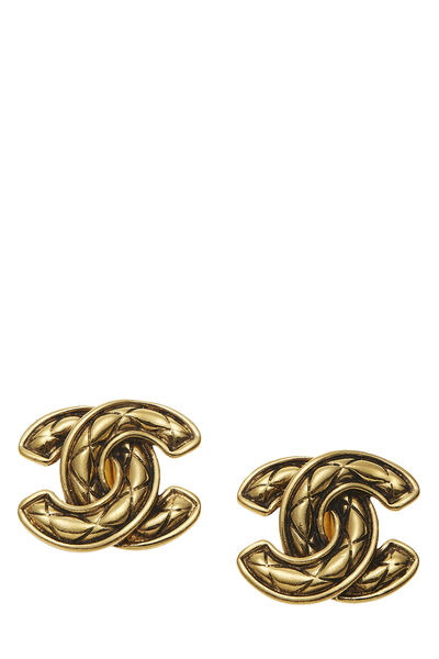 Gold Quilted 'CC' Earrings Large