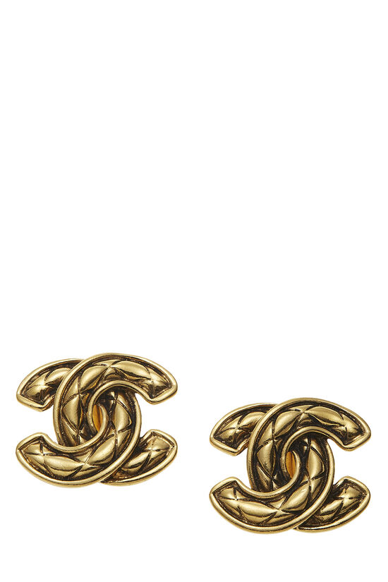 Gold Quilted 'CC' Earrings Large, , large image number 0
