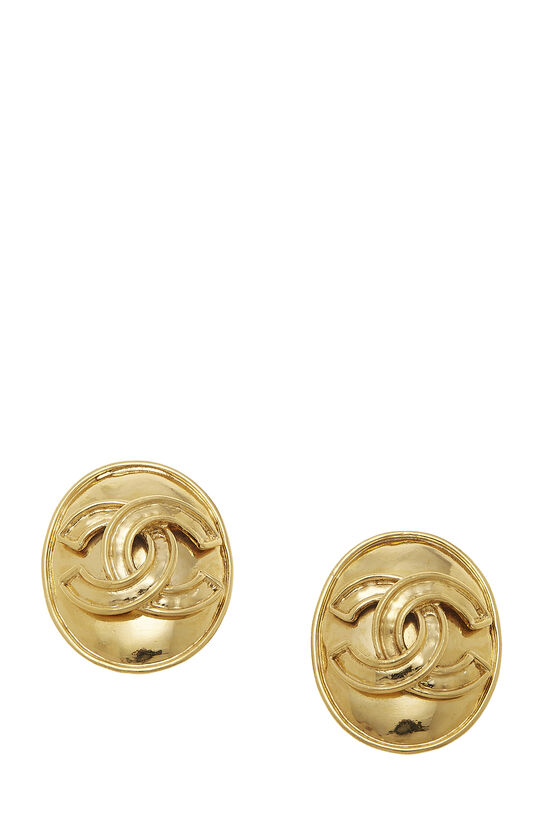 Gold Oval 'CC' Earrings, , large image number 0