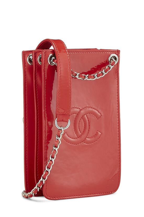Red Patent Leather 'CC' Phone Holder, , large image number 2
