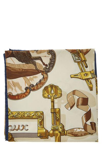 Navy & Multicolor 'Copeaux' Silk Scarf 90, , large