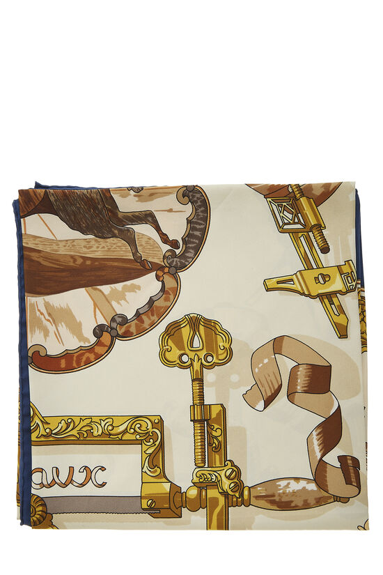 Navy & Multicolor 'Copeaux' Silk Scarf 90, , large image number 1