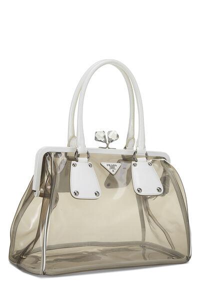 White Leather & Grey Vinyl Kiss Lock Handbag, , large