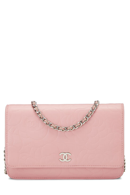 Pink Lambskin Camellia Wallet on Chain (WOC), , large image number 0