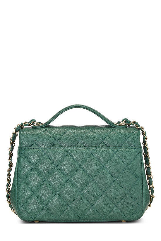 Green Quilted Caviar Business Affinity Bag Medium, , large image number 4