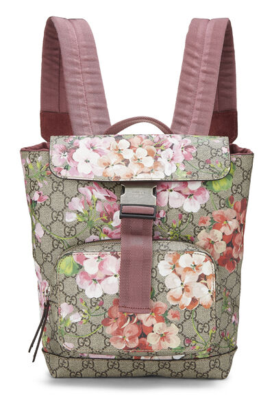 Pink GG Blooms Supreme Canvas Backpack Small