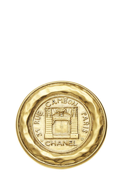 Gold Rue Cambon Engraved Pin