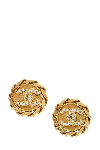 Gold & Crystal 'CC' Chain Earrings