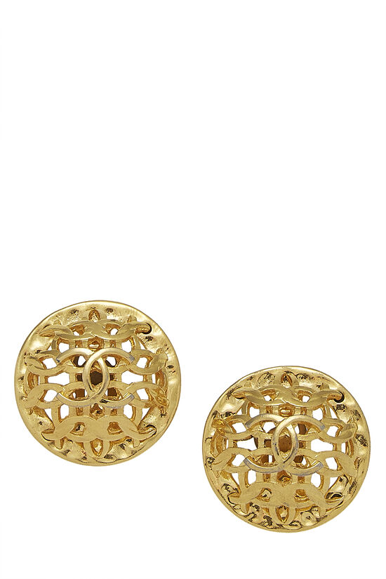 Gold GG Woven Cutout Earrings, , large image number 0