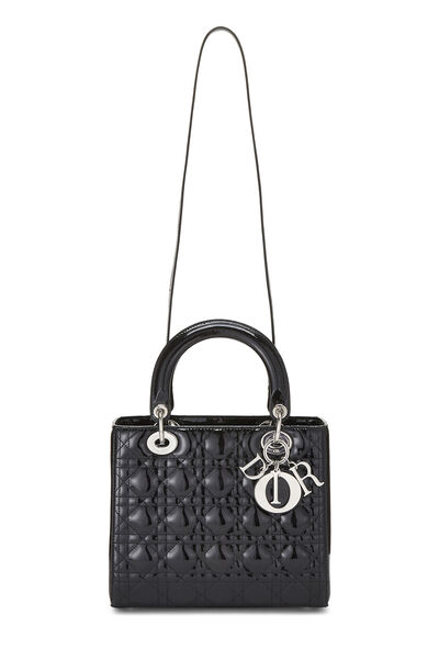 Black Cannage Quilted Patent Leather Lady Dior Medium, , large