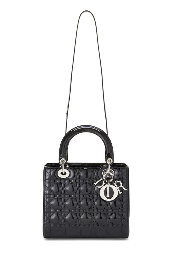 Black Cannage Quilted Patent Leather Lady Dior Medium, , large image number 1