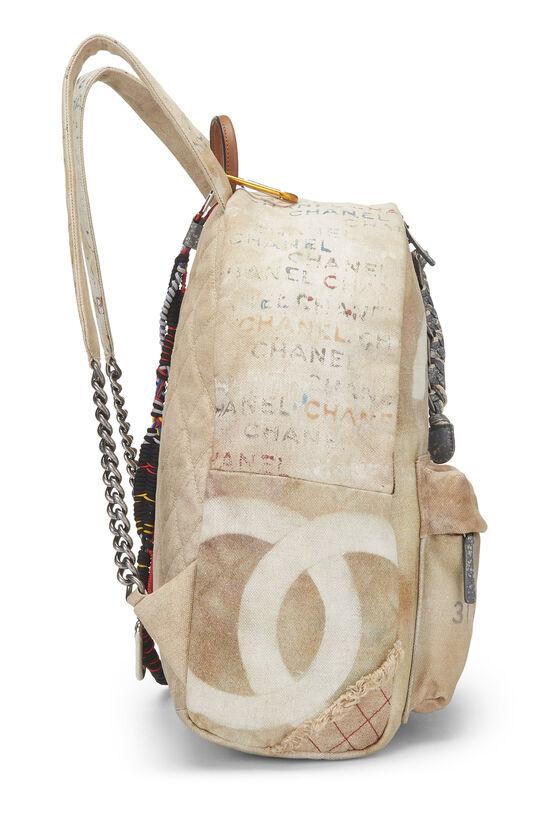 Beige Canvas Graffiti Backpack, , large image number 2