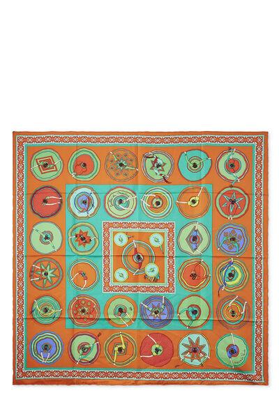 Orange & Multicolor 'Belles du Mexique' Silk Scarf 90