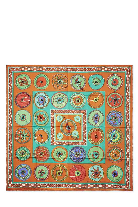 Orange & Multicolor 'Belles du Mexique' Silk Scarf 90, , large image number 0