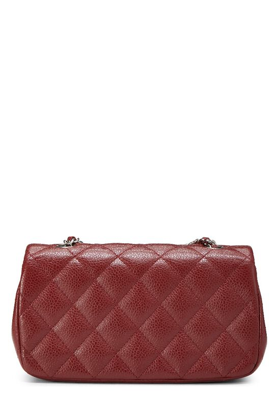 Burgundy Quilted Caviar Half Flap Mini, , large image number 3