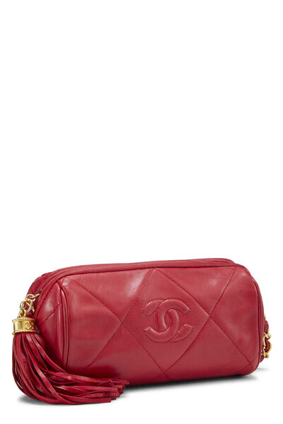 Red Quilted Lambskin Barrel Mini, , large