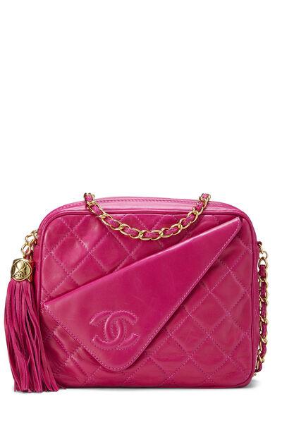 Pink Lambskin Diagonal Camera Bag Small