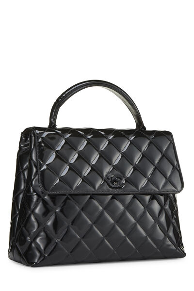 Black Quilted Patent Leather Kelly Jumbo, , large