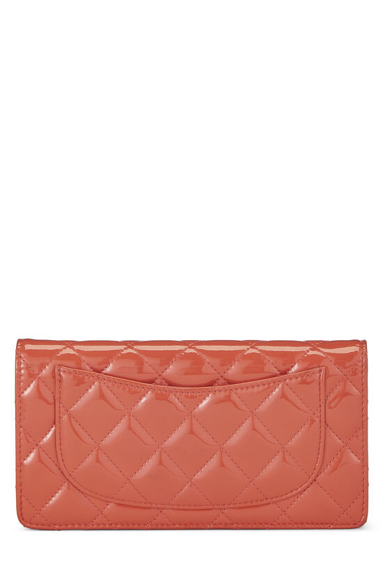 Orange Quilted Patent Leather Long Wallet, , large image number 2