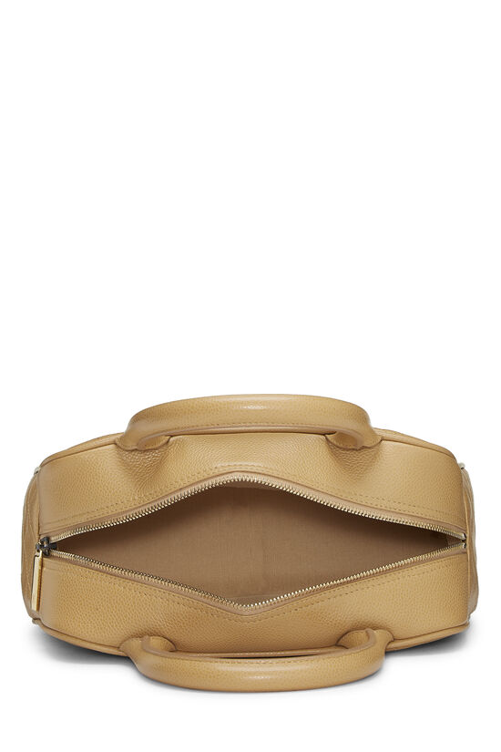 Beige Quilted Caviar Bowler Mini, , large image number 5
