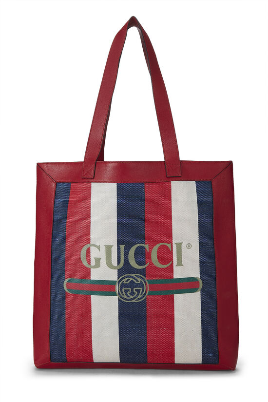 Red Leather & Canvas Sylvie Baiadera Tote, , large image number 0