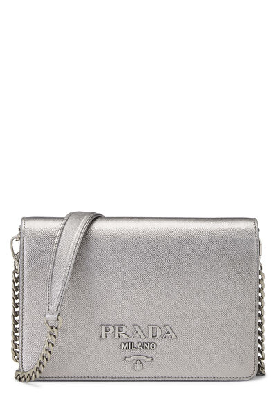 Silver Saffiano Leather Wallet-On-Chain (WOC)