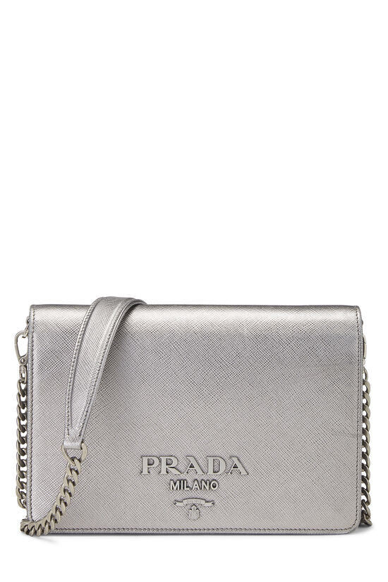 Silver Saffiano Leather Wallet-On-Chain (WOC), , large image number 0