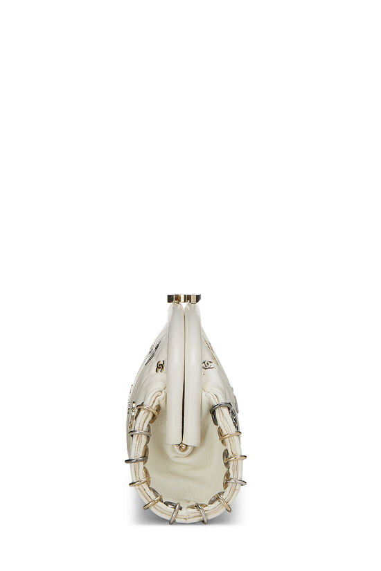 White Calfskin Punk Timeless Clutch, , large image number 2