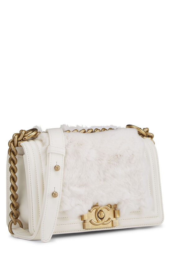 White Fur & Calfskin Boy Bag Small, , large image number 2