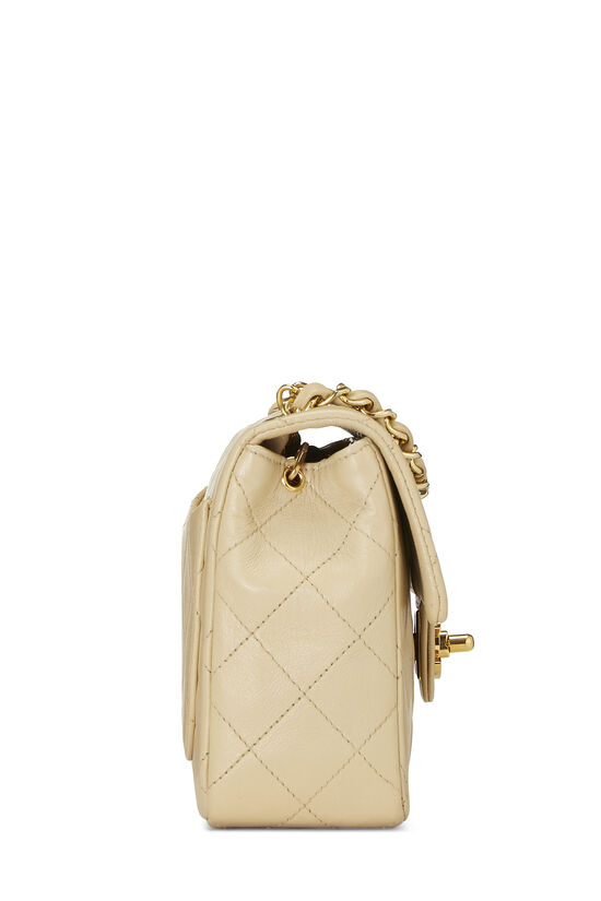 Beige Quilted Lambskin Half Flap Mini, , large image number 2