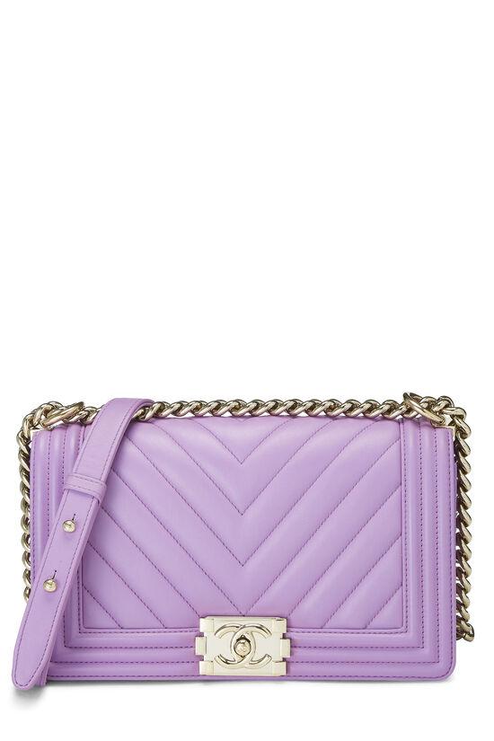 Purple Chevron Lambskin Boy Bag Medium, , large image number 0