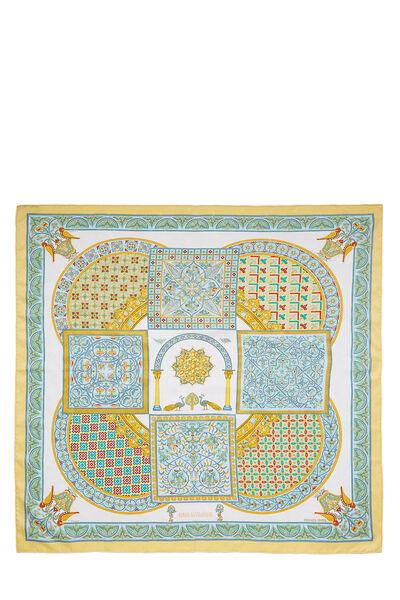 Yellow & Multicolor 'Ciels Byzantins' Silk Scarf 90