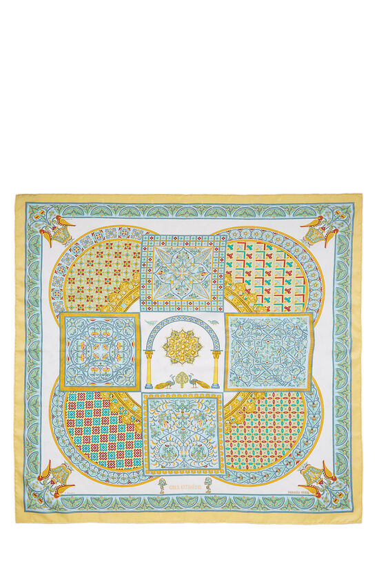 Yellow & Multicolor 'Ciels Byzantins' Silk Scarf 90, , large image number 0