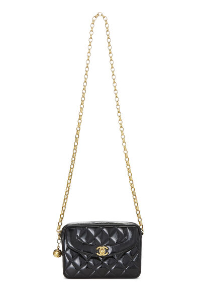 Black Quilted Patent Leather Pocket Camera Bag Mini, , large