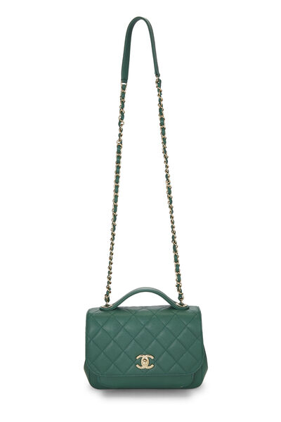 Green Quilted Caviar Business Affinity Bag Medium, , large