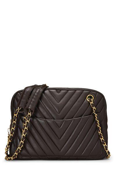 Brown Chevron Lambskin Shoulder Bag