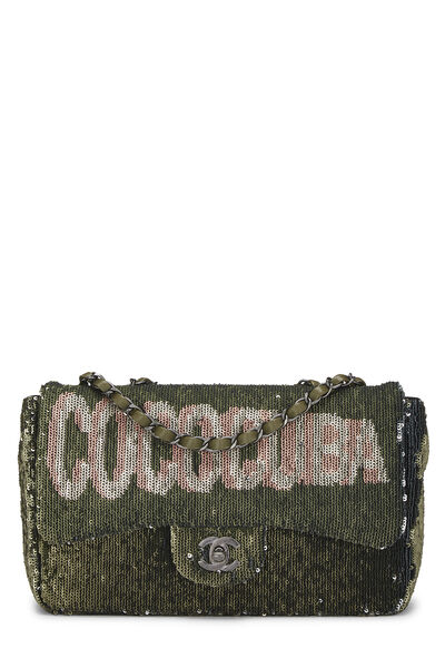 Paris-Cuba Olive Sequin Classic Flap Bag Medium