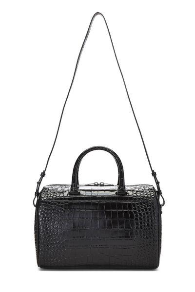 Black Embossed Leather Convertible Boston Bag, , large