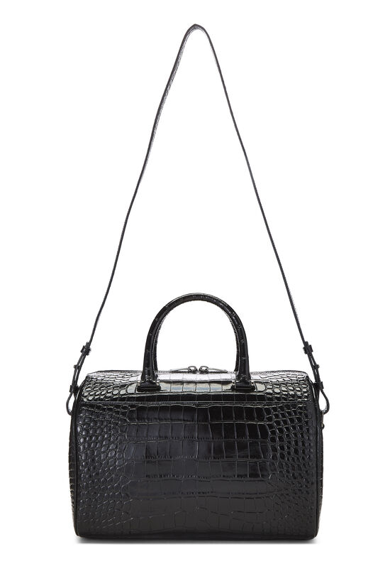 Black Embossed Leather Convertible Boston Bag, , large image number 1