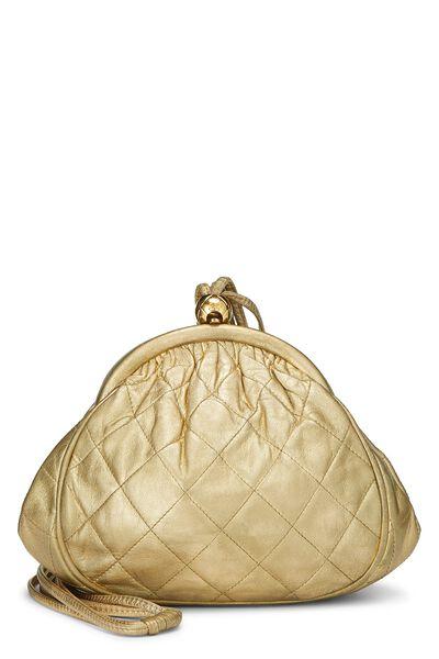 Metallic Gold Quilted Lambskin Shoulder Bag Mini