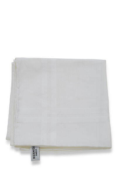 White Cotton Pocket Square, , large