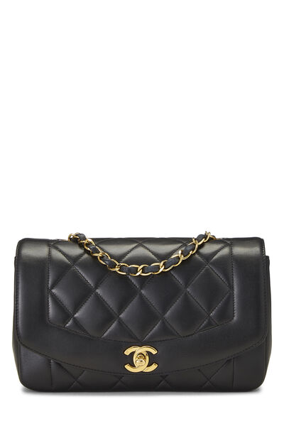 Black Quilted Lambskin Diana Flap Small